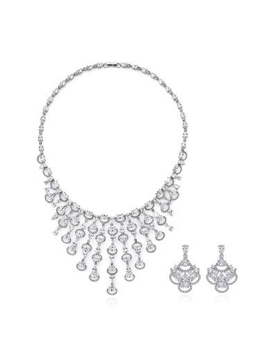 Tophills Diamond Co. 32,40 Ct Pırlanta Efekt  Altın Cascada Gerdanlık Set Renkli